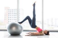 woman exercising with yoga ball. pelvic floor exrcises