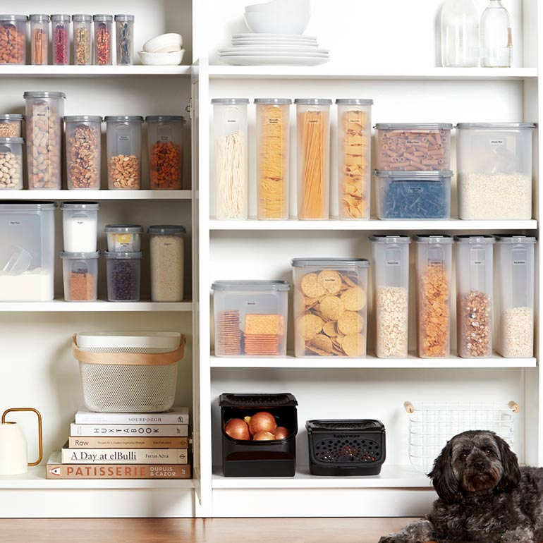 Organise your pantry with tupperware storage containers
