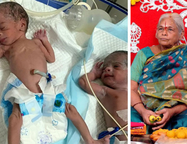74-year-old woman gives birth twins