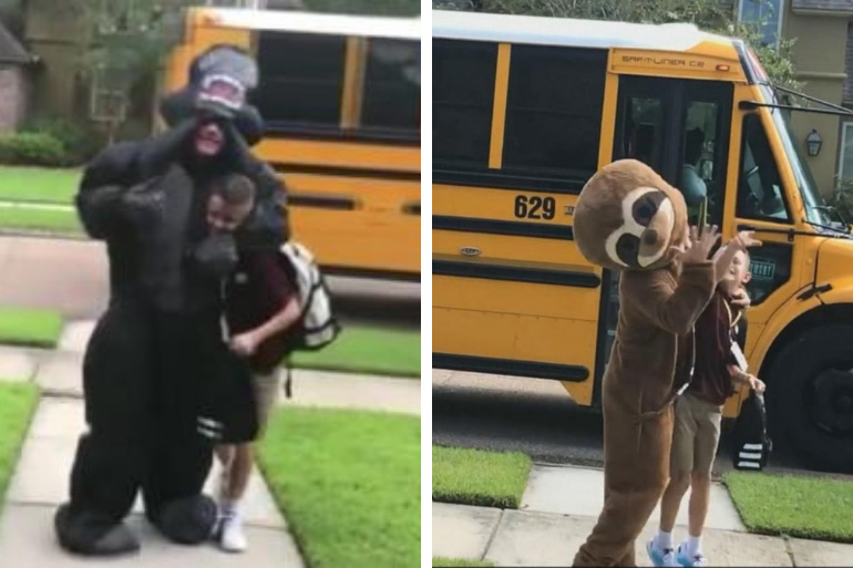 Big brother dresses up for little brother at bus stop