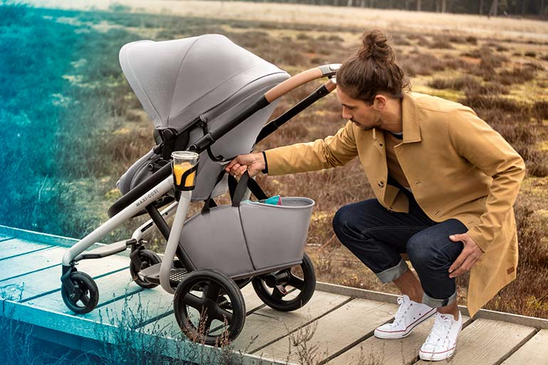 dad with Maxi Cosi Lila Stroller