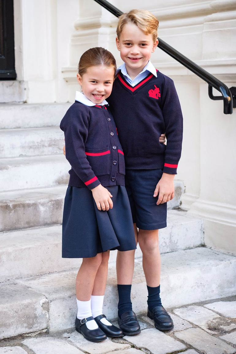 Princess Charlotte and Prince George in school uniform
