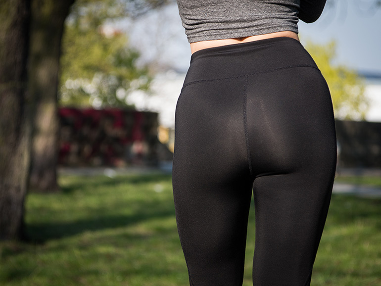 thigh chafe, woman wearing leggings
