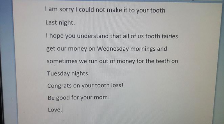 tooth fairy excuses