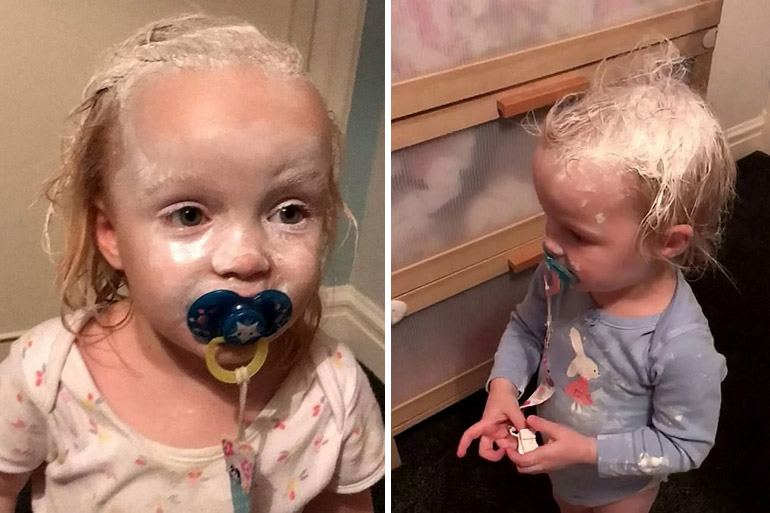 Triplets covered in sudocrem