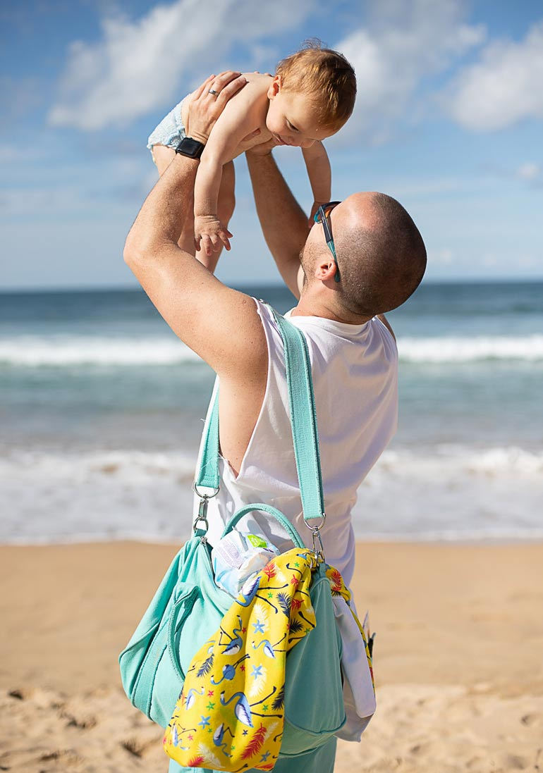 child and dad at beach, babylove swim pants