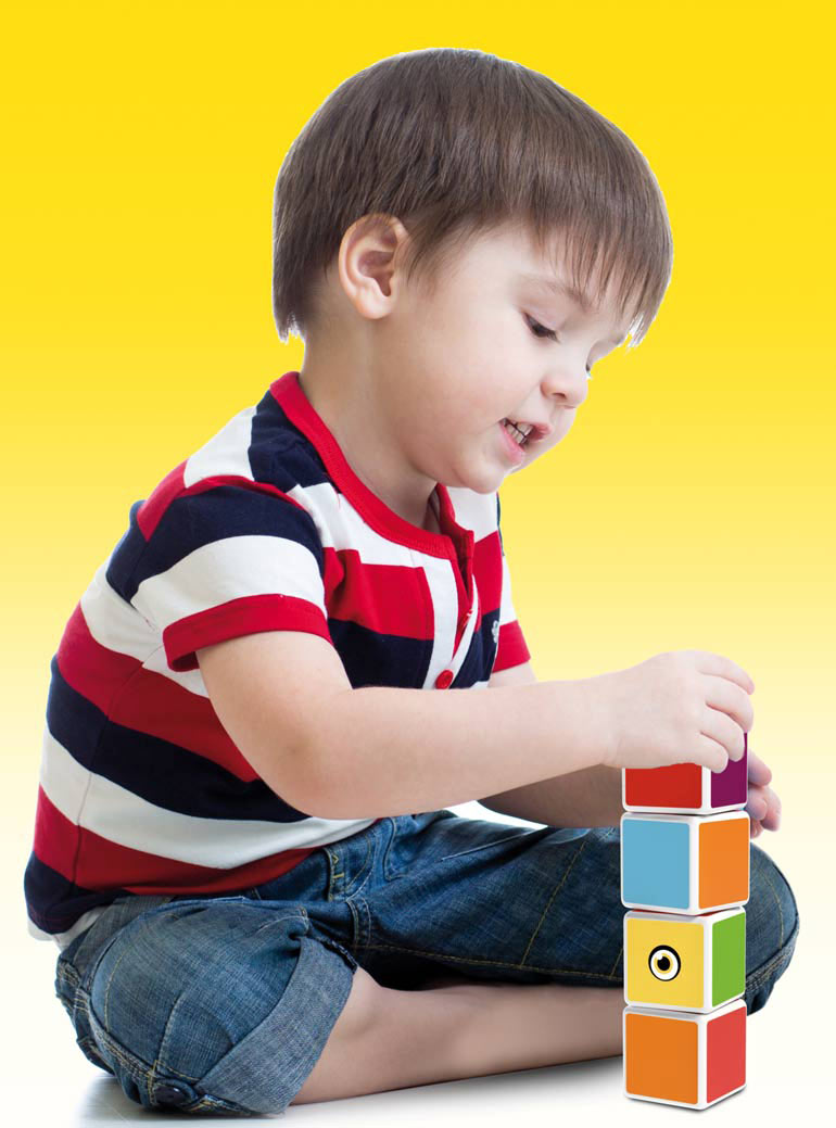 child playing magicube