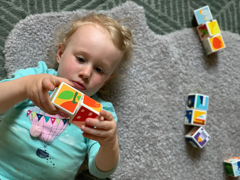 Geomag Magicube Review - child playing with blocks