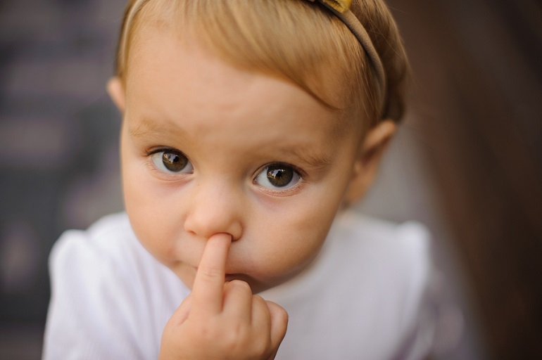 Child picking nose random objects stuck in bodies