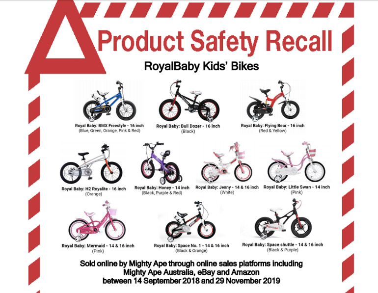 kids bike recalled Mighty Ape