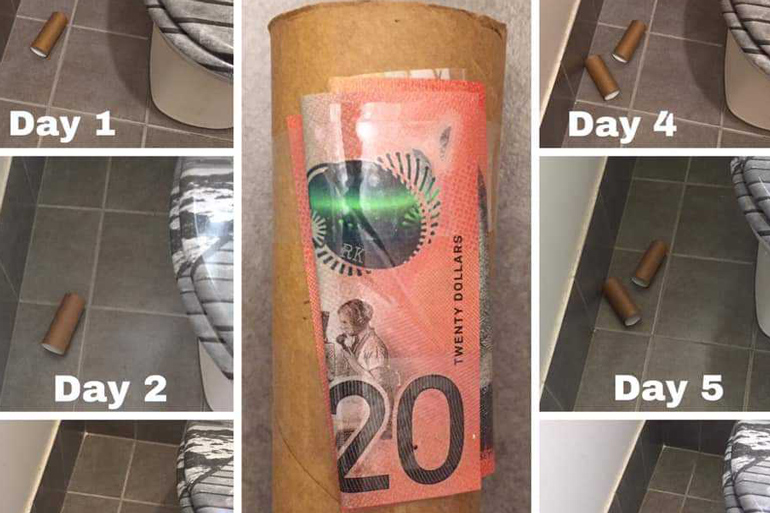 toilet paper roll cleaning hack