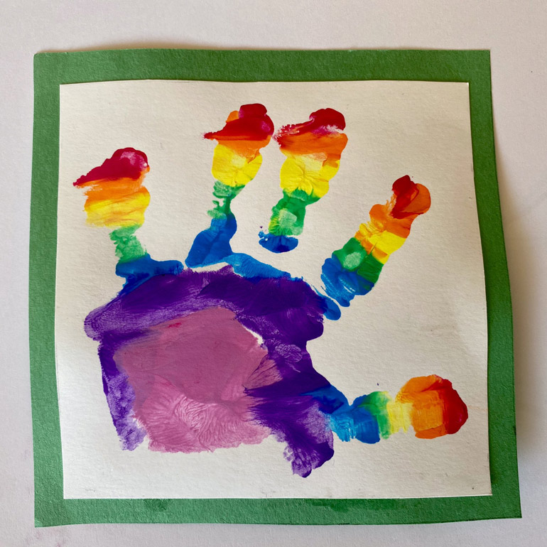Prince Louis rainbow handprint