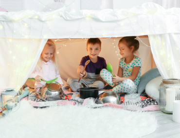 kids playing in a fort