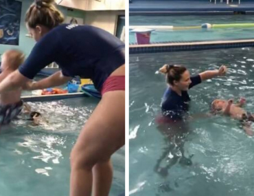 baby thrown into pool