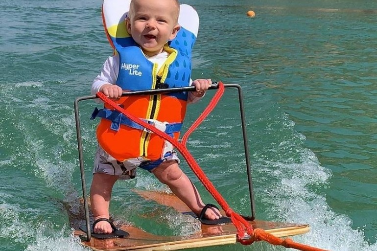 waterskiing baby