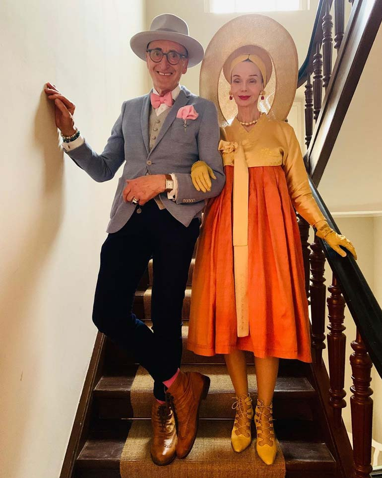 well dressed elderly couple