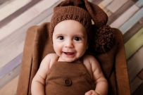 cute little baby in brown