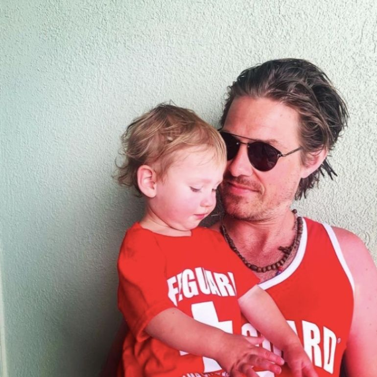 Taylor Hanson with son