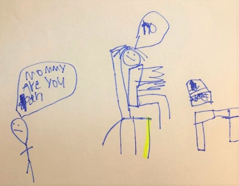 six year old's drawing - mum guilt