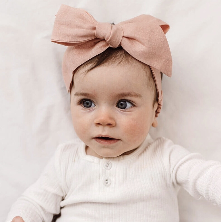linen baby bow