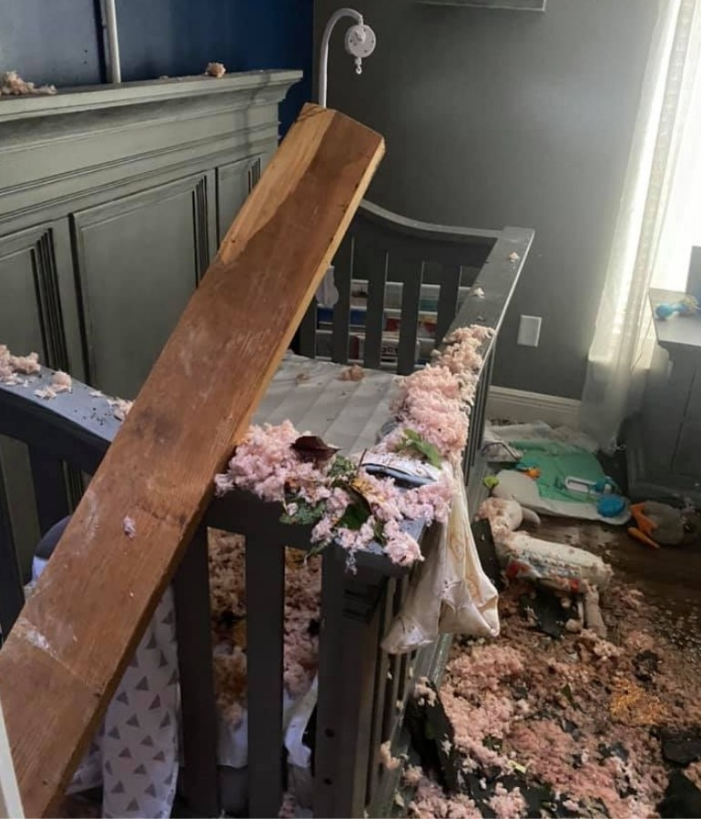 aftermath of damage to nursery from falling tree