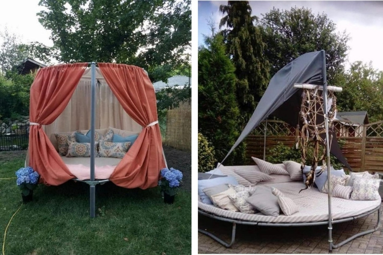 recycled trampoline ideas into beds