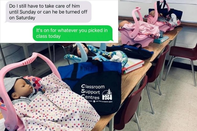 teens care for fake babies